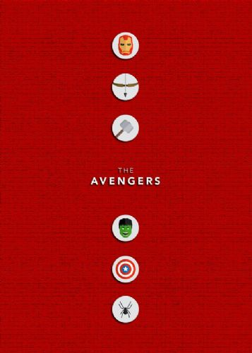 2010's Movie - THE AVENGERS MINIMALIST RED canvas print - self adhesive poster - photo print